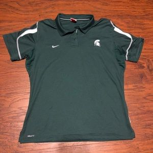 Green Nike Dry Fit Spartan Team Polo Top